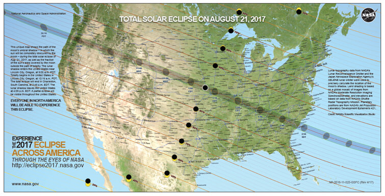 Total Solar Eclipse 2017 path USA map poster preview image
