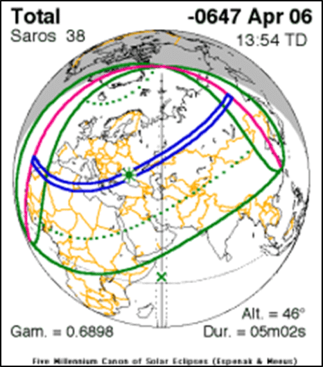 Eclipse Map for 647 BCE Total Solar Eclipse.